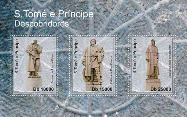 Statues of Discoveries, (J.de Paiva, P.Escobar, J. de Santarem). - Issue of Sao Tome and Principe postage stamps