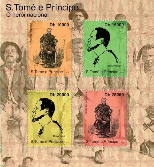 The National Heroes of Sao Tome & Principe, (O Rei dos Angolares, Rei Amador). - Issue of Sao Tome and Principe postage stamps