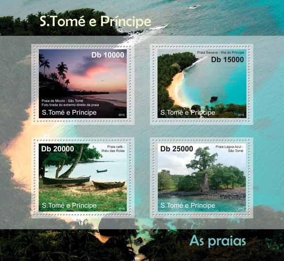 Beaches of Sao Tome & Principe, (Micolo, Banana, Cafe, Lagoa Azul). - Issue of Sao Tome and Principe postage stamps