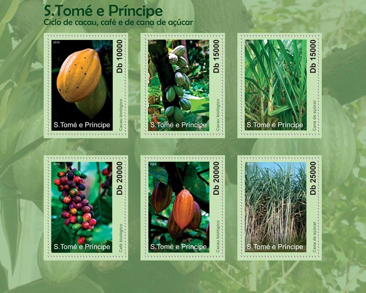 Cycle of Cocoa, Coffee and Sugar Cane. - Issue of Sao Tome and Principe postage stamps