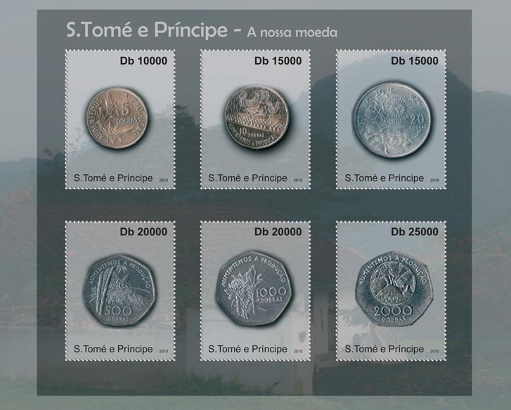 Currency of Sao Tome & Principe, (Coins I). - Issue of Sao Tome and Principe postage stamps