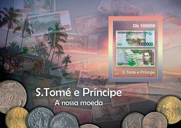Currency of Sao Tome & Principe, (Banknotes). - Issue of Sao Tome and Principe postage stamps