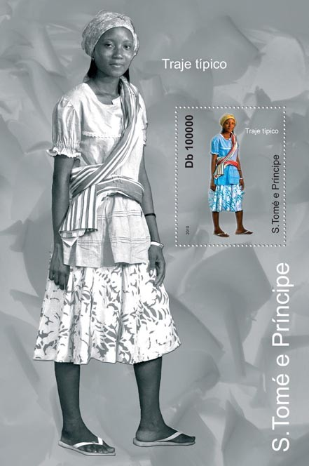 Culture of Sao tome & Principe,  (Traje Tipico, S/S 3). - Issue of Sao Tome and Principe postage stamps