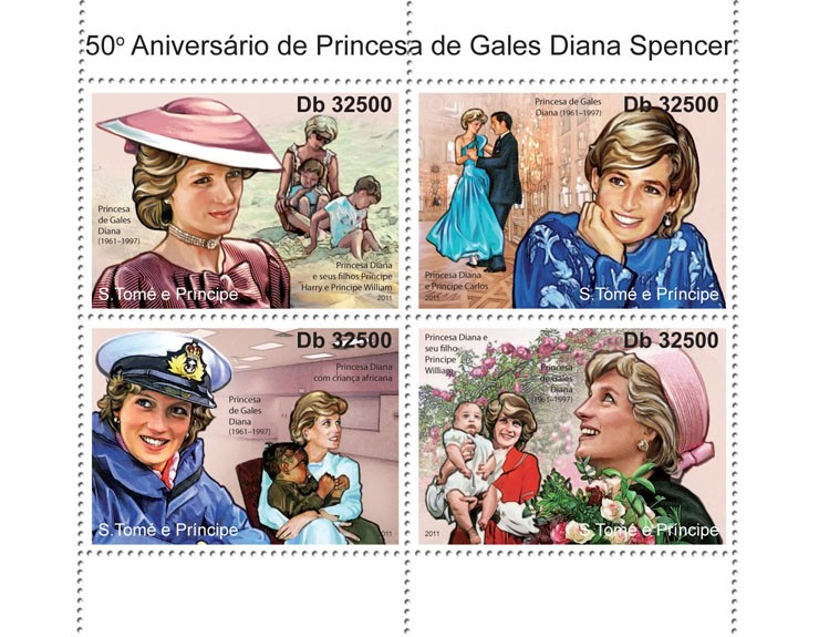 Diana - Issue of Sao Tome and Principe postage stamps