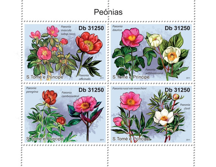 Peony Flowers - Issue of Sao Tome and Principe postage stamps