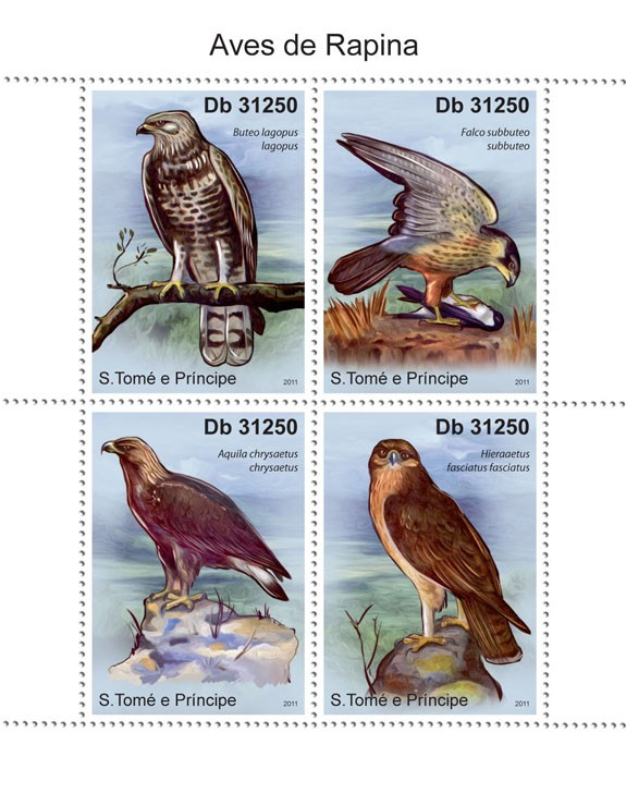 Raptors - Issue of Sao Tome and Principe postage stamps