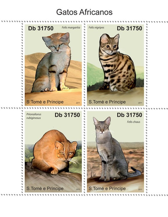 African Cats - Issue of Sao Tome and Principe postage stamps