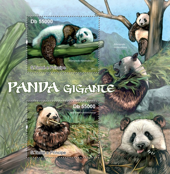 Giant Panda. - Issue of Sao Tome and Principe postage stamps