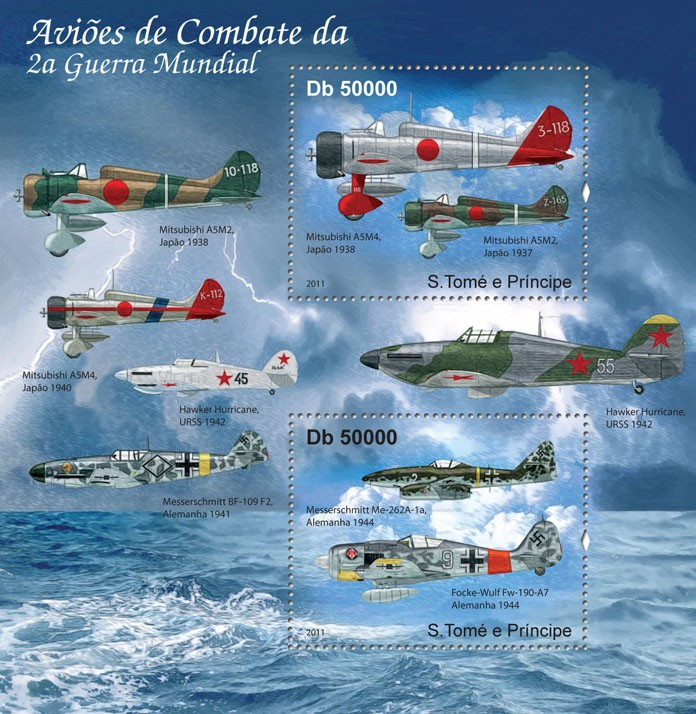 Combat Aircrafts - Issue of Sao Tome and Principe postage stamps