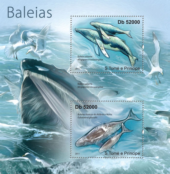 Whales. - Issue of Sao Tome and Principe postage stamps