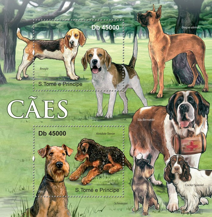Dogs. - Issue of Sao Tome and Principe postage stamps