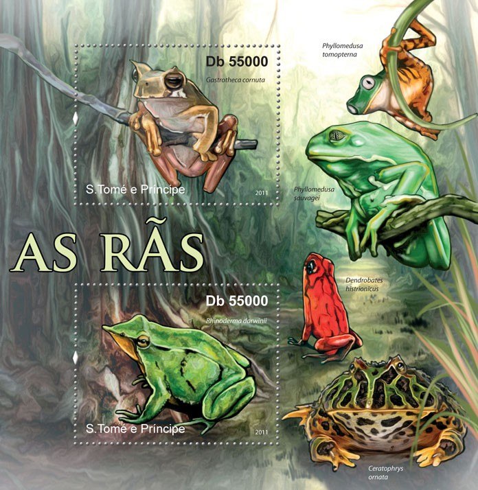 Frogs. - Issue of Sao Tome and Principe postage stamps