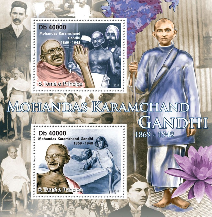 M.K. Gandhi (1869-1948). - Issue of Sao Tome and Principe postage stamps