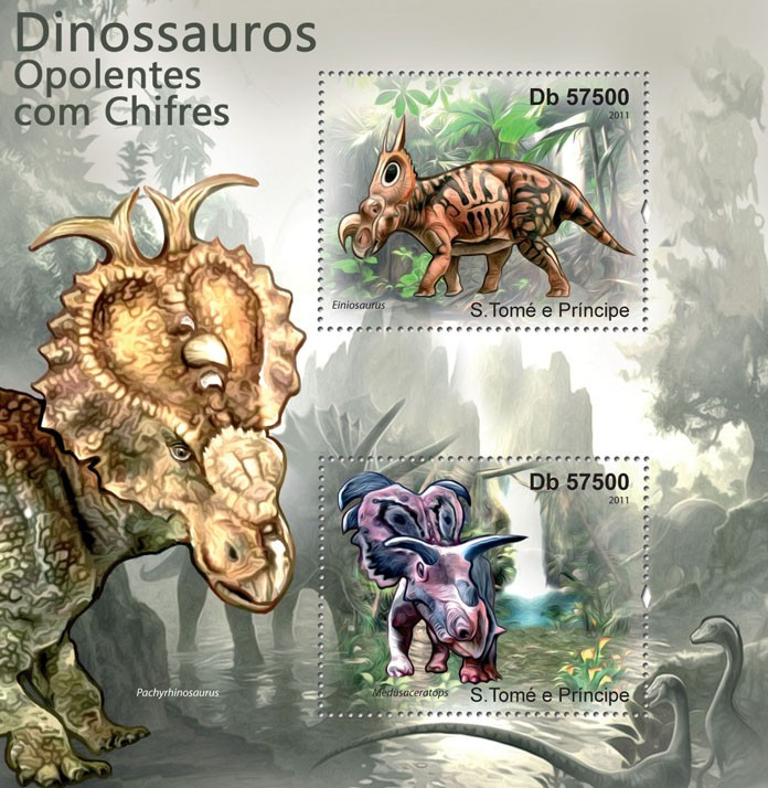 Spectacular Horned Dinosaurs. - Issue of Sao Tome and Principe postage stamps