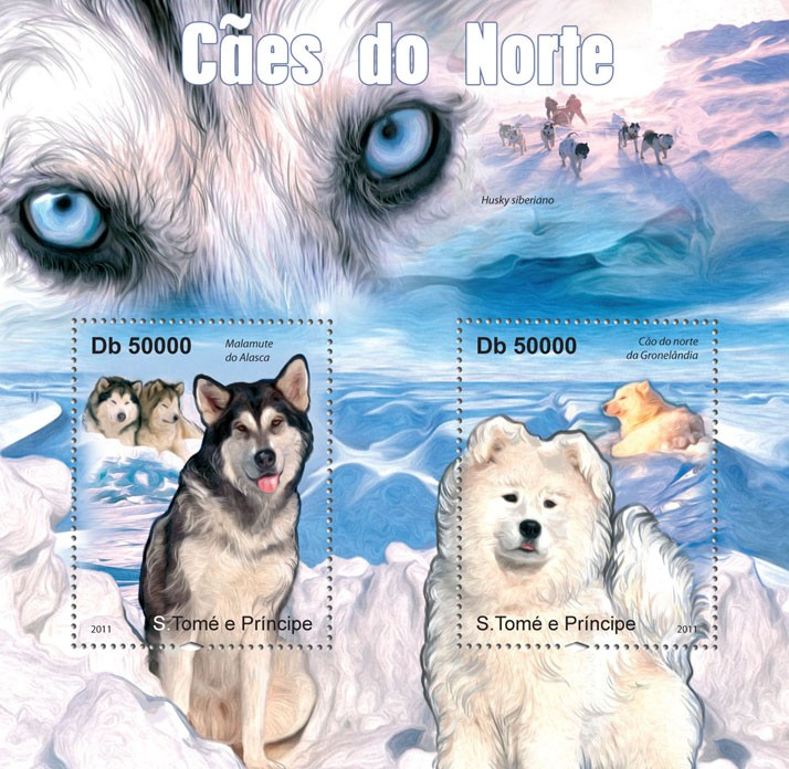 Northern Dogs. - Issue of Sao Tome and Principe postage stamps