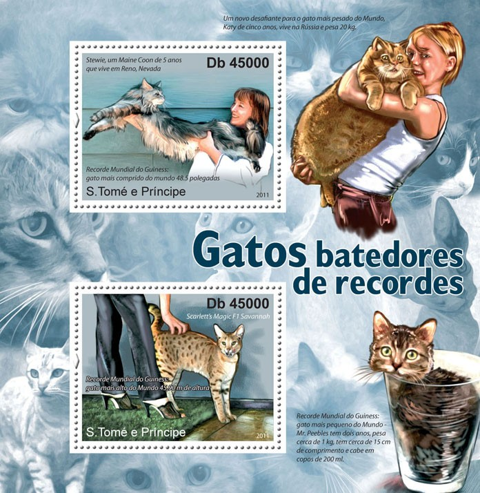 Cats Record Breakers. - Issue of Sao Tome and Principe postage stamps