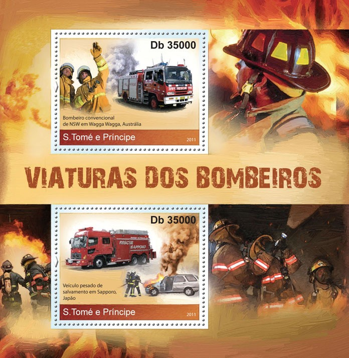 Fire Engines. - Issue of Sao Tome and Principe postage stamps