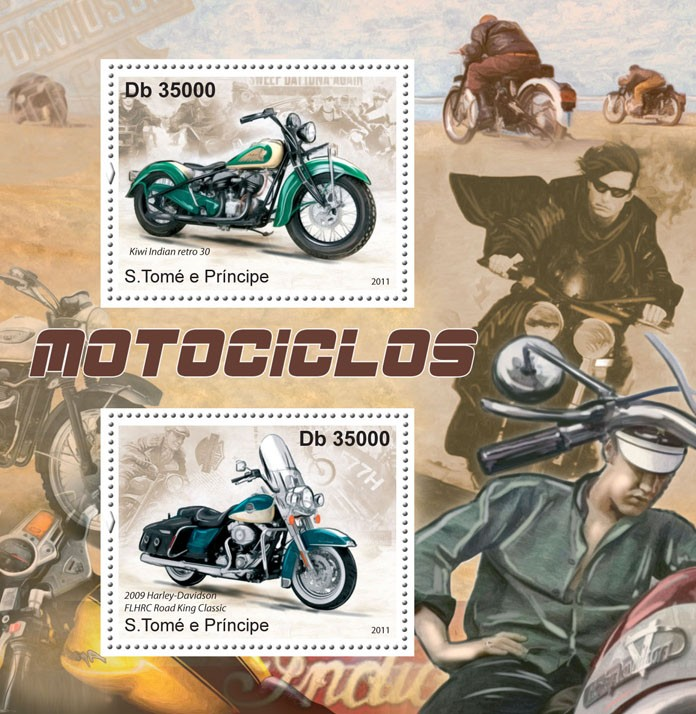 Motorcycles. - Issue of Sao Tome and Principe postage stamps