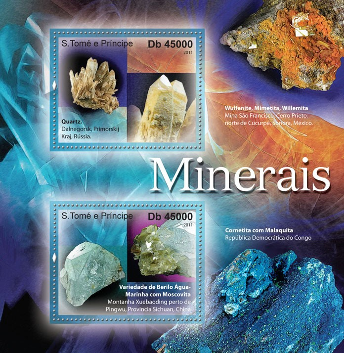 Minerals. - Issue of Sao Tome and Principe postage stamps