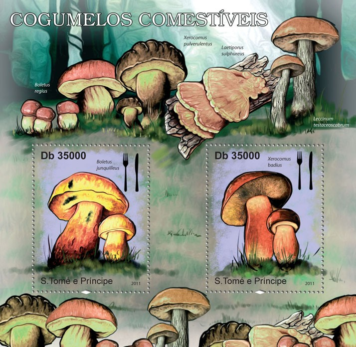 Mushrooms. - Issue of Sao Tome and Principe postage stamps