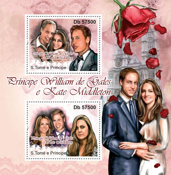 Prince William & Kate Middleton - Issue of Sao Tome and Principe postage stamps