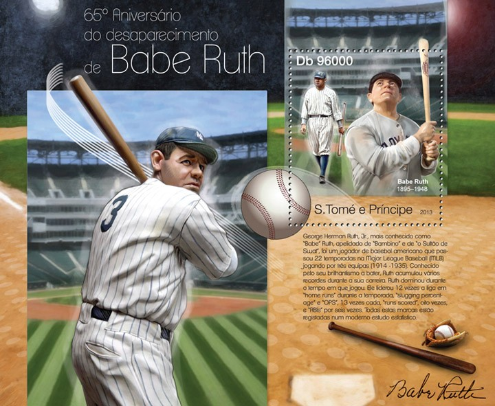 Babe Ruth - Issue of Sao Tome and Principe postage stamps