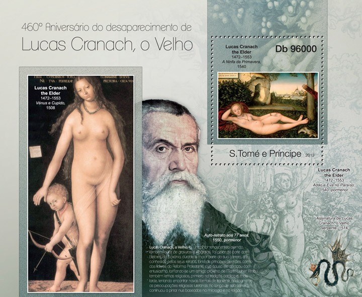 Lucas Cranach - Issue of Sao Tome and Principe postage stamps