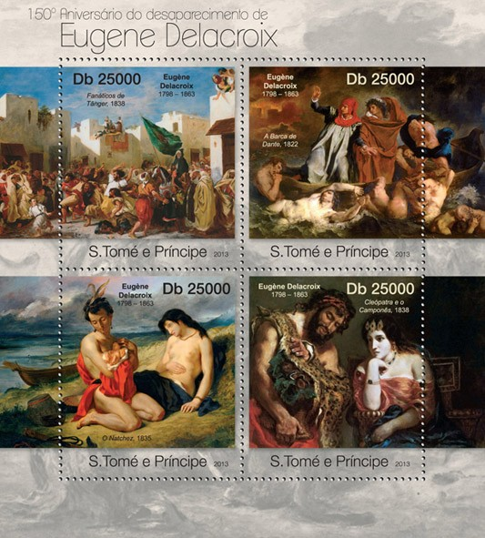 Eugene Delacroix - Issue of Sao Tome and Principe postage stamps