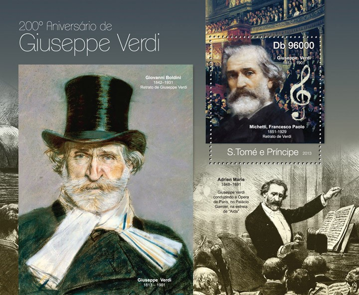 Giuseppe Verdi - Issue of Sao Tome and Principe postage stamps