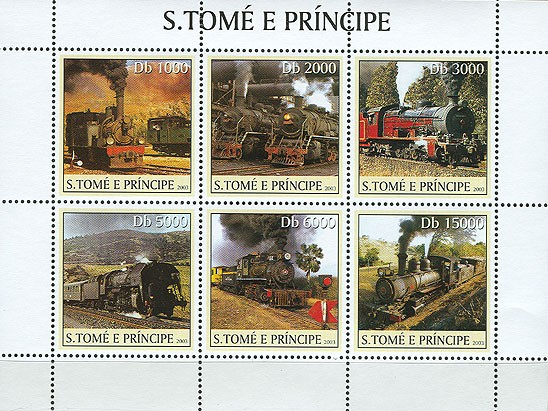 Old steam trains 6v - Issue of Sao Tome and Principe postage stamps