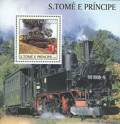 Old steam trainss/s - Issue of Sao Tome and Principe postage stamps