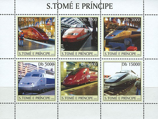 T.G.V. trains 6v - Issue of Sao Tome and Principe postage stamps
