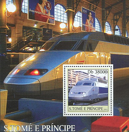 T.G.V. trains s/s - Issue of Sao Tome and Principe postage stamps