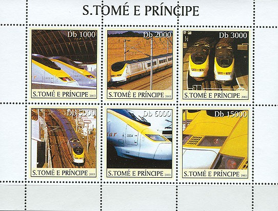 Eurostar trains 6v - Issue of Sao Tome and Principe postage stamps