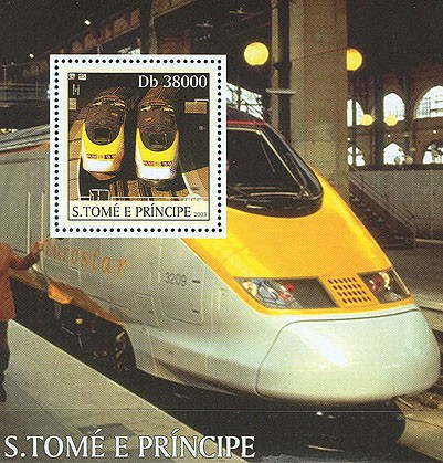 Eurostar trains s/s - Issue of Sao Tome and Principe postage stamps