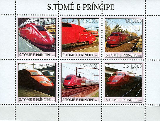 Thalys trains 6v - Issue of Sao Tome and Principe postage stamps