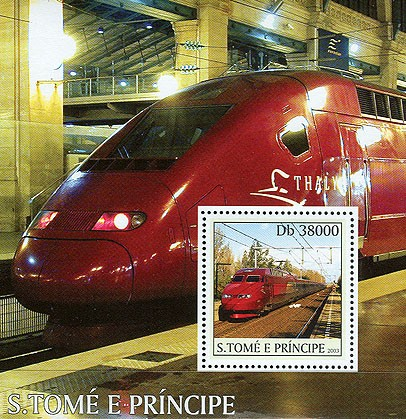 Thalys trains s/s - Issue of Sao Tome and Principe postage stamps