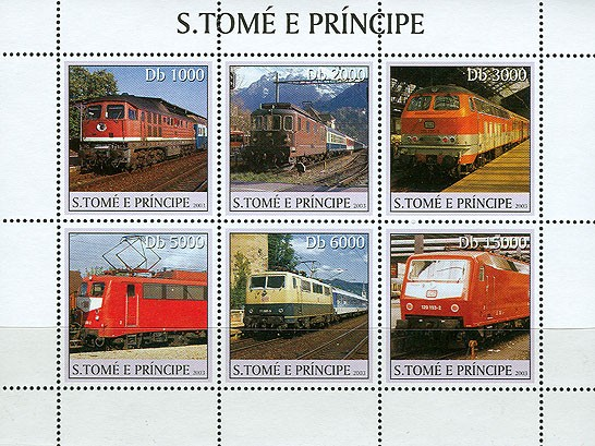 Trains (4 red ones) 6v - Issue of Sao Tome and Principe postage stamps