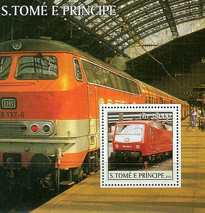 Trains (red) s/s - Issue of Sao Tome and Principe postage stamps