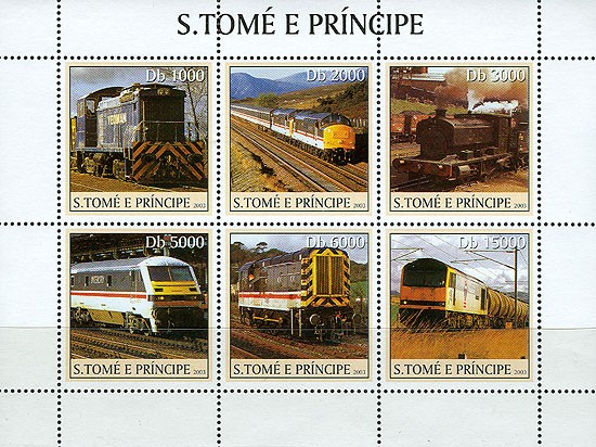Trains (yellow) 6v - Issue of Sao Tome and Principe postage stamps