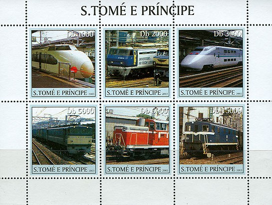 Trains and TGV trains 6v - Issue of Sao Tome and Principe postage stamps