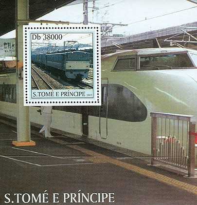 Trains and TGV trains in border s/s - Issue of Sao Tome and Principe postage stamps