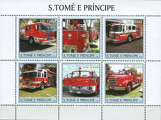 Fire Engines 6v - Issue of Sao Tome and Principe postage stamps