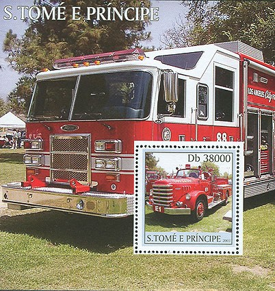 Fire Engines s/s - Issue of Sao Tome and Principe postage stamps