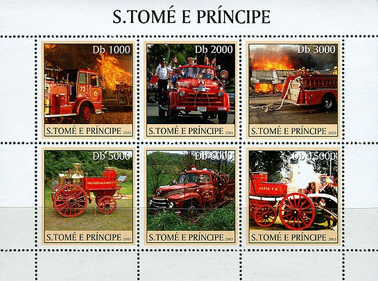 Old Fire Engines 6v - Issue of Sao Tome and Principe postage stamps