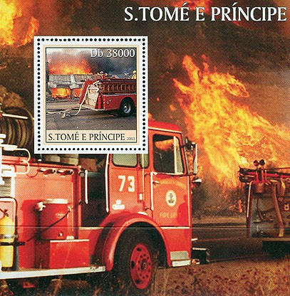 Old Fire Engines s/s - Issue of Sao Tome and Principe postage stamps