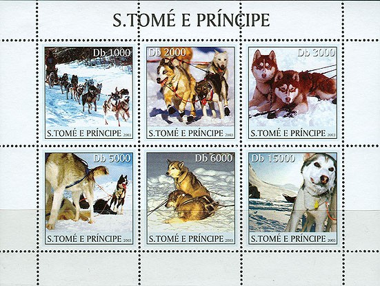 Dogs & trains 6v - Issue of Sao Tome and Principe postage stamps