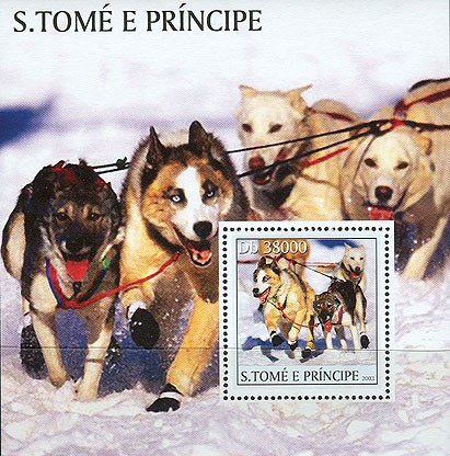 Dogs & trains s/s - Issue of Sao Tome and Principe postage stamps