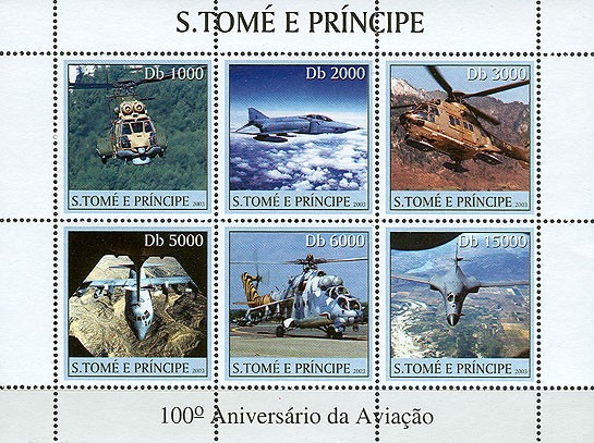 100th Anniversary Aviation 6v - Issue of Sao Tome and Principe postage stamps