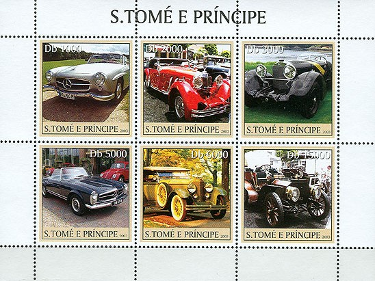 Mercedes 6v - Issue of Sao Tome and Principe postage stamps
